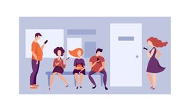 Queue to the office. Vector royalty free illustration