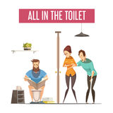 Queue At Toilet Design Concept. With people waiting at front toilet and man reading newspaper on lavatory flat vector illustration Royalty Free Stock Photo