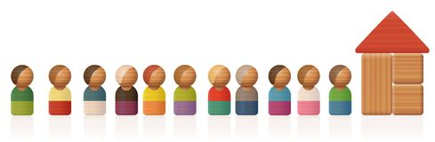 Queue Waiting Line Toy Figures. Queue or waiting line with toy figures and building blocks - isolated vector illustration on white background Stock Photo