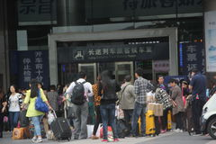 The queue waiting of passengers in shenzhen railway station,china,Asia Royalty Free Stock Photography