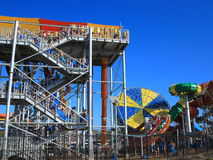 Queue water slide tower Stock Images