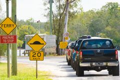 Queue of 4wd vehicles at Tewantin ferry crossing point to Noosa North Shore in Queensland, Australia Royalty Free Stock Photos