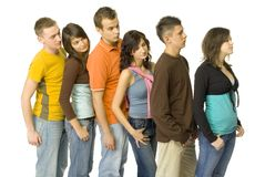 Queue of youths Stock Photography