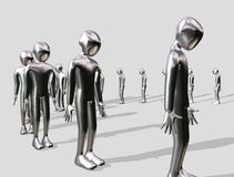Queueing aluminium Man Royalty Free Stock Photos