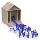 Queues outside a public building Royalty Free Stock Photo