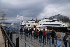 Queuing for ship to Bygdoy. People are queuing for ship to Bygdoy, Oslo, Norway Stock Photo