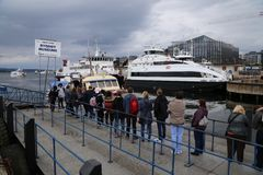 Queuing for ship to Bygdoy. People are queuing for ship to Bygdoy, Oslo, Norway Royalty Free Stock Photography