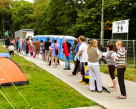 Queuing for showers. Festival No.6. 2014 Stock Image