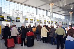 Queus at check in desks, Malaga airport. Royalty Free Stock Images