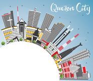 Quezon City Philippines Skyline with Gray Buildings, Blue Sky an Royalty Free Stock Image