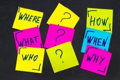 Quién, porqué, cómo, qué, cuando y donde preguntas - incertidumbre, Br Fotografía de archivo libre de regalías
