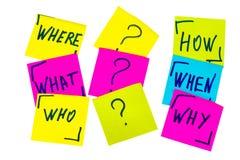 Quién, porqué, cómo, qué, cuando y donde preguntas - incertidumbre, sujetador Imagenes de archivo