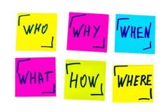 Quién, porqué, cómo, qué, cuando y donde preguntas - incertidumbre, sujetador Fotografía de archivo