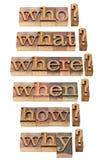 Quién, qué, donde, cuando, porqué, cómo preguntas Foto de archivo