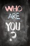 Quién son usted escrito en una pizarra Imagen de archivo