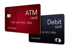 Qui è una carta di BANCOMAT che è indicata con una carta di debito che è spesso probabilmente la stessa come BANCOMAT ma non è royalty illustrazione gratis