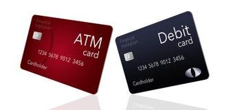 Qui è una carta di BANCOMAT che è indicata con una carta di debito che è spesso probabilmente la stessa come BANCOMAT ma non è illustrazione vettoriale