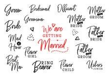 Qui est qui sur l'ensemble de mariage illustration libre de droits