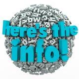Qui è la sfera della lettera di risultati 3D di indagine della ricerca di informazioni Immagini Stock
