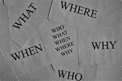 Qui?n qu? whene donde porqu? preguntas fotografía de archivo