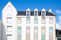 Landscapes and architectures of Brittany. Quiberon, France, an house overlooking the Port Maria harbor Royalty Free Stock Images