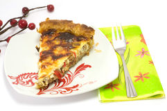 Quiche. Asparagus quiche with meat baked to perfection Stock Photos