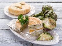 Quiche with artichoke Stock Photo