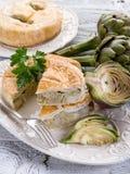 Quiche with artichoke Stock Photos