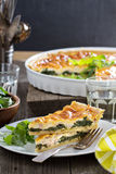 Quiche with arugula and bacon Stock Photography