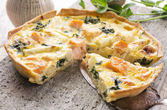 Quiche with Asparagus and Salmon Royalty Free Stock Photography