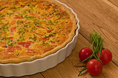 Quiche avec des saumons Photo stock
