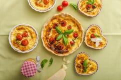 Quiche avec du fromage et des tomates-cerises Photographie stock