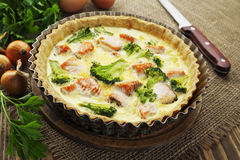 Quiche with broccoli and fish Stock Photos