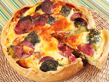 Quiche with broccoli and ham Royalty Free Stock Photos