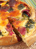 Quiche with broccoli and ham Stock Photo