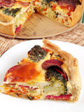 Quiche with broccoli and ham Stock Photography