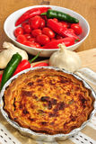 Quiche with broccoli and tomato Stock Image