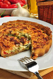 Quiche with broccoli and tomato Stock Photography