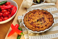 Quiche with broccoli and tomato ready to eat Stock Photos