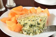 Quiche with cantaloupe Royalty Free Stock Photos