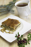Quiche with chanterelles mushrooms, parmesan cheese royalty free stock photo