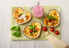 Quiche with cheese and cherry tomatoes Royalty Free Stock Photo