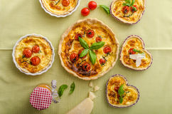 Quiche with cheese and cherry tomatoes Stock Photography