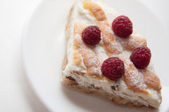 Quiche with cottage cheese and raspberries Stock Photo