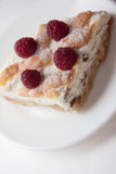 Quiche with cottage cheese and raspberries. Delicious cottage cheese quiche on plate Stock Image