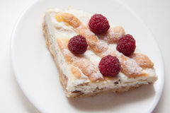 Quiche with cottage cheese and raspberries Royalty Free Stock Photography