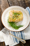 Quiche Dill Dish - Food Recipe. On beautiful plate and rustic table Stock Image