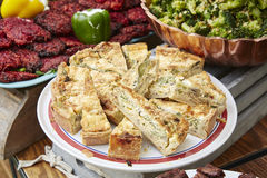 Quiche on display at a farmers market Royalty Free Stock Photo
