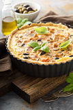 Quiche with eggplant, chicken and olives Royalty Free Stock Photography