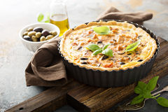 Quiche with eggplant, chicken and olives Royalty Free Stock Photos
